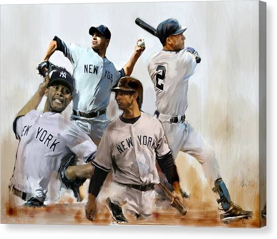 Derek Jeter Canvas Print - Core  Derek Jeter Mariano Rivera  Andy Pettitte Jorge Posada by Iconic Images Art Gallery David Pucciarelli