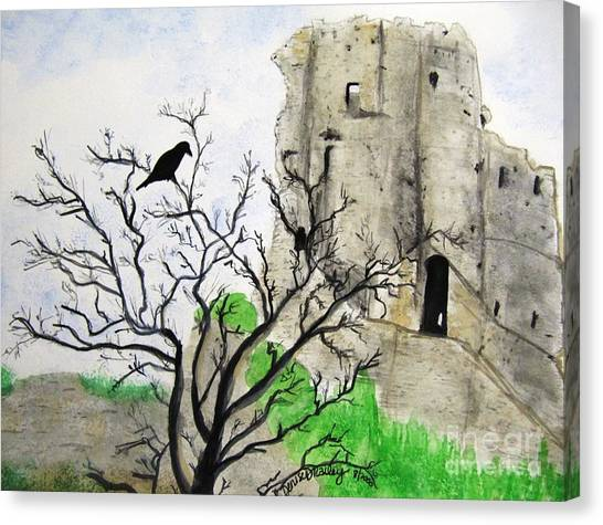 Corfe Castle And Crow Canvas Print