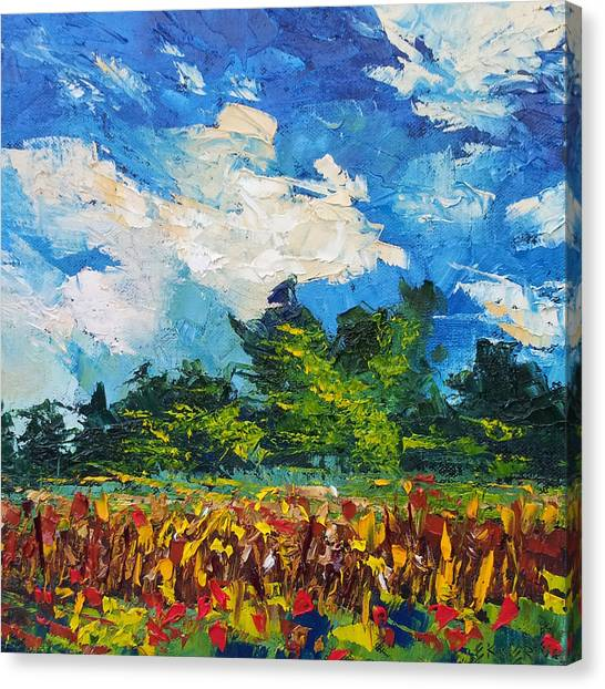 Corn Field Blue Sky Oil Painting Canvas Print