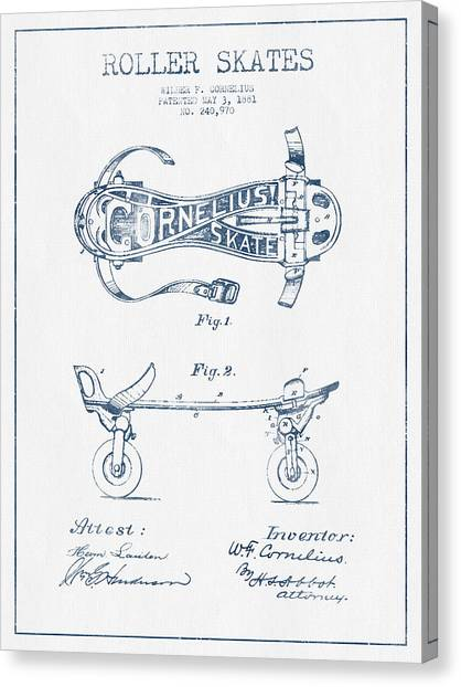 Roller Skating Canvas Print - Cornelius Roller Skate Patent Drawing From 1881  - Blue Ink by Aged Pixel