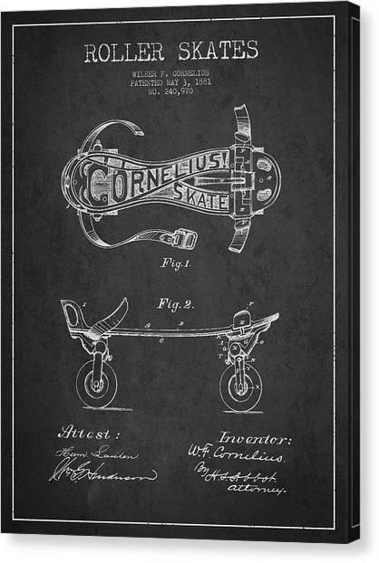 Rollerblading Canvas Print - Cornelius Roller Skate Patent Drawing From 1881 - Dark by Aged Pixel