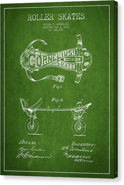 Rollerblading Canvas Print - Cornelius Roller Skate Patent Drawing From 1881 - Green by Aged Pixel