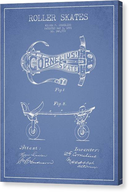 Rollerblading Canvas Print - Cornelius Roller Skate Patent Drawing From 1881 - Light Blue by Aged Pixel