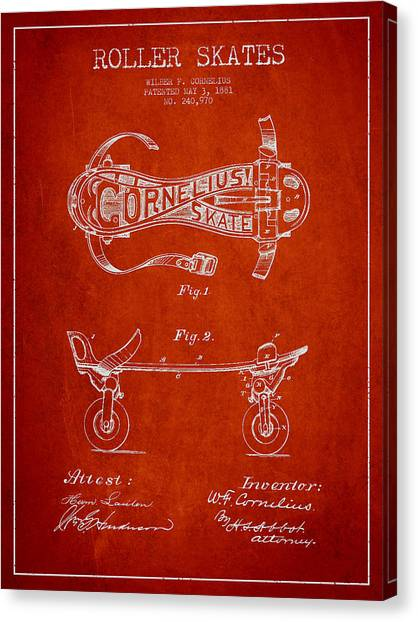Rollerblading Canvas Print - Cornelius Roller Skate Patent Drawing From 1881 - Red by Aged Pixel