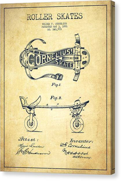Roller Skating Canvas Print - Cornelius Roller Skate Patent Drawing From 1881 - Vintage by Aged Pixel