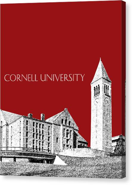 Cornell University Canvas Print - Cornell University - Dark Red by DB Artist
