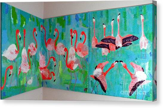 Corner Flamingos Canvas Print