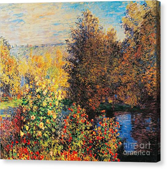 19th Century Canvas Print - Corner Of Garden In Montgeron by Claude Monet