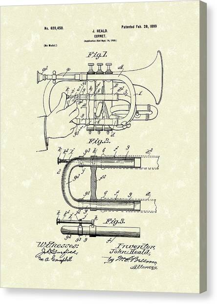 Wind Instruments Canvas Print - Cornet 1899 Patent Art by Prior Art Design