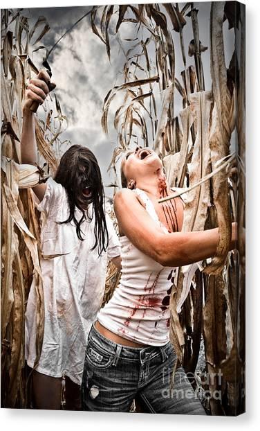 Indian Corn Canvas Print - Cornfield Horror by Jt PhotoDesign