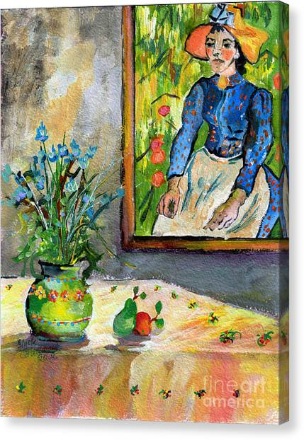 Cornflowers In French Pottery And Van Gogh Painting On Wall Canvas Print