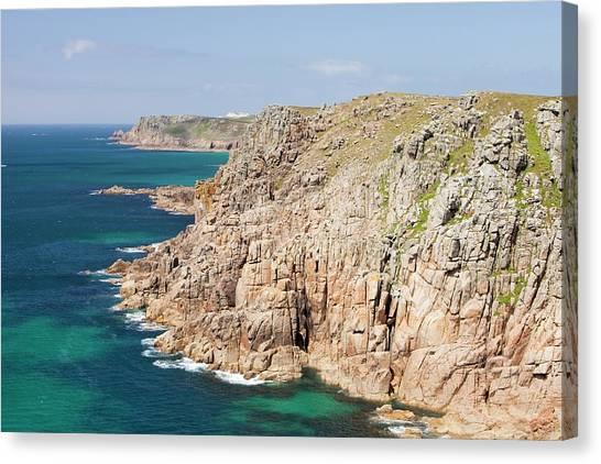 Ocean Cliffs Canvas Print - Cornish Coastal Scenery Near Gwennap Head by Ashley Cooper