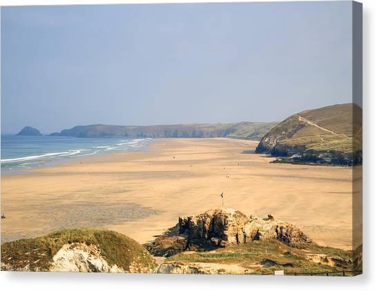 Beach Cliffs Canvas Print - Cornwall - Ligger Bay by Joana Kruse