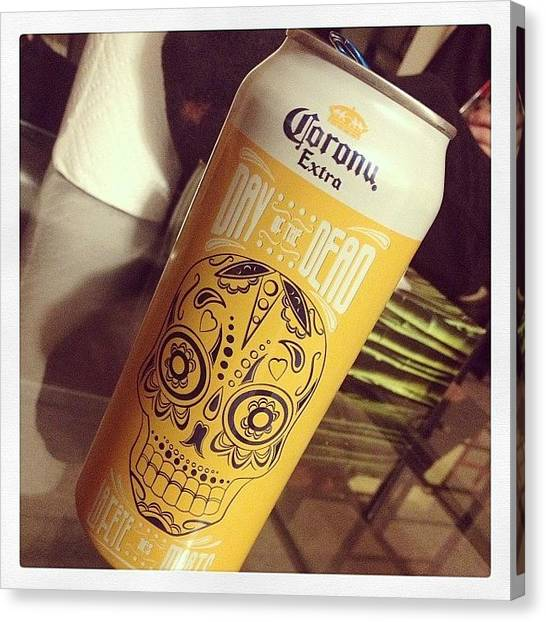 Beer Can Canvas Print - #corona #dayofthedead #tallcan #can by Katrina A