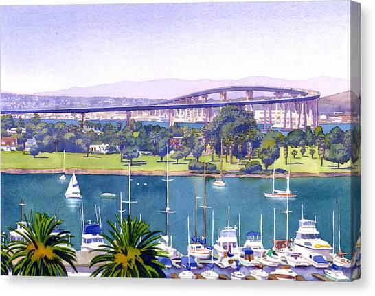San Diego Canvas Print - Coronado Bay Bridge by Mary Helmreich
