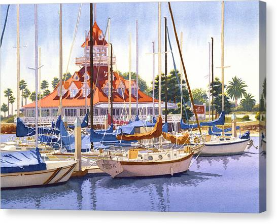 Boat Canvas Print - Coronado Boathouse by Mary Helmreich