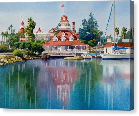 San Diego Canvas Print - Coronado Boathouse Reflected by Mary Helmreich