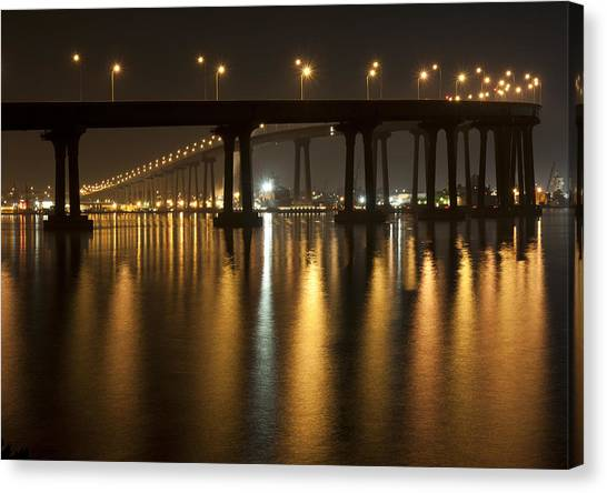 Coronado Bridge At Night Canvas Print