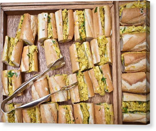 Selection Canvas Print - Coronation Chicken Baguettes by Tom Gowanlock