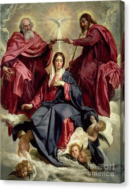 The Crown Canvas Print - Coronation Of The Virgin by Diego Velazquez