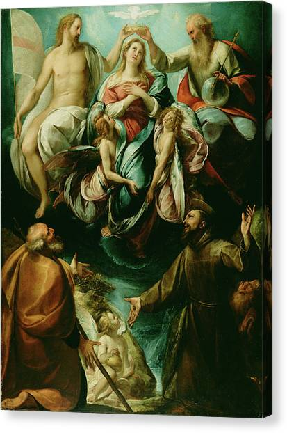 Procaccini Canvas Print - Coronation Of The Virgin With Saints Joseph And Francis by Litz Collection