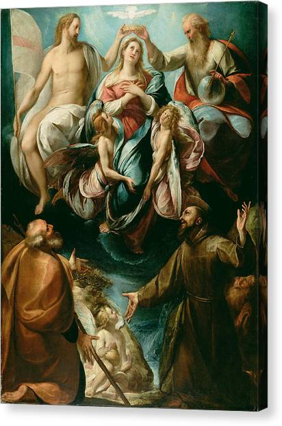 Coronation Of The Virgin With Saints Joseph And Francis Of Assisi Canvas Print