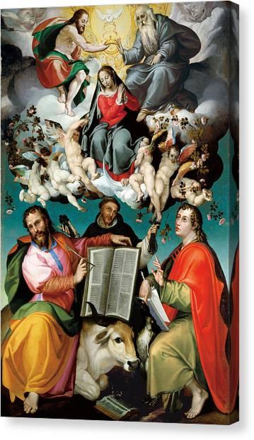 Saint Luke The Evangelist Canvas Print - Coronation Of The Virgin With Saints Luke Dominic And John The Evangelist by Bartolomeo Passarotti