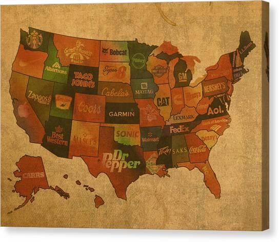 Corporate America Canvas Print - Corporate America Map by Design Turnpike