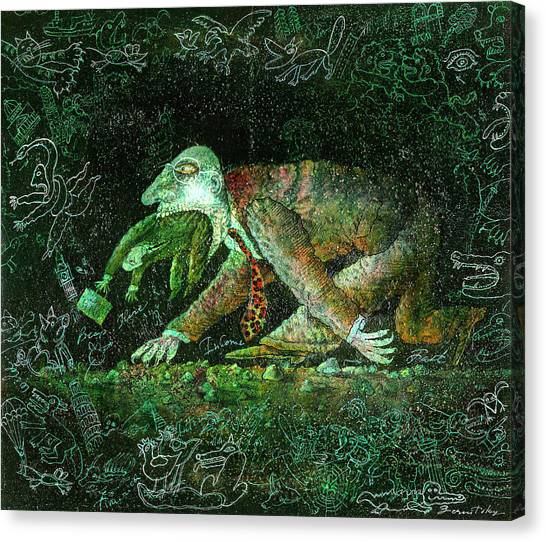 Merging Canvas Print - Corporate Predator by Leon Zernitsky