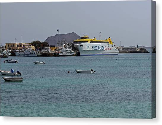Corralejo Harbour Canvas Print