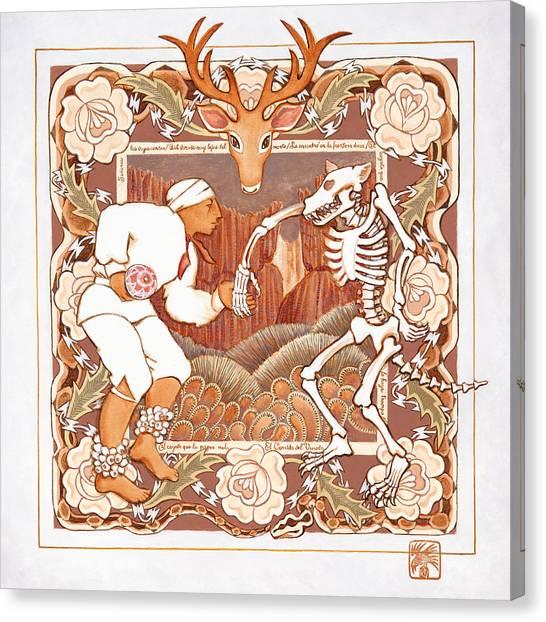 Dia Del Muerto Canvas Print - Corrido Del Venado Y Coyote En La Frontera by Ruth Hooper