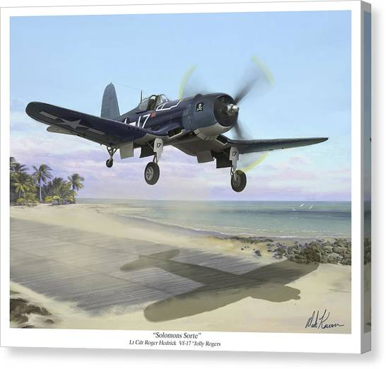 Corsair Takeoff Vf-17 Jolly Rogers Canvas Print by Mark Karvon