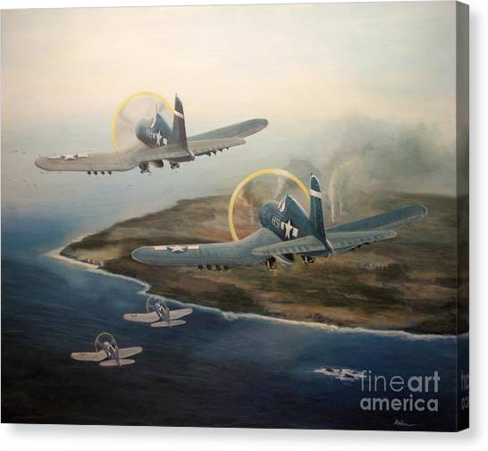 Corsairs Over Iwo Canvas Print