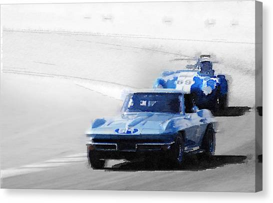 Cobras Canvas Print - Corvette And Ac Cobra Shelby Watercolor by Naxart Studio