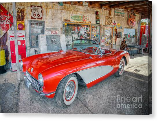 Corvette At Hackberry General Store Canvas Print
