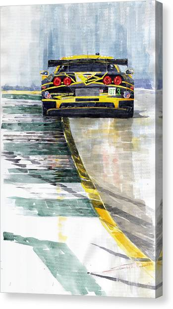Sports Cars Canvas Print - Corvette C6 by Yuriy Shevchuk