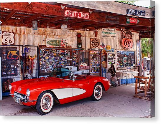 Corvette Drive Rt 66 Canvas Print