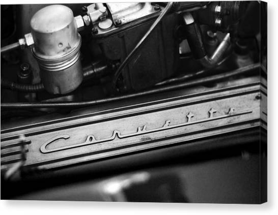 Canvas Print featuring the photograph Corvette Valve Cover by Beverly Stapleton