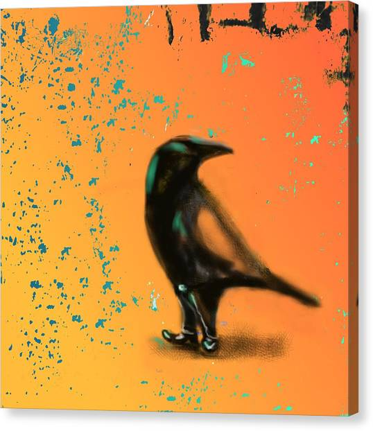 Raven Canvas Print - Corvus Looking Back by Marcello Cicchini