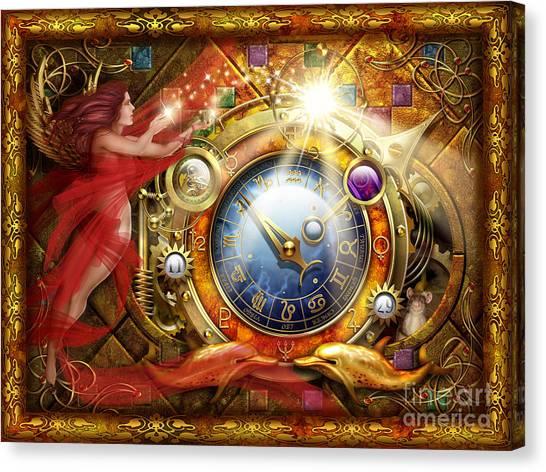 Astrology Canvas Print - Cosmic Clock by Ciro Marchetti