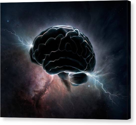 Brain Canvas Print - Cosmic Intelligence by Johan Swanepoel