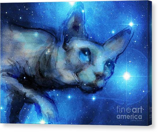 Sphynx Cats Canvas Print - Cosmic Sphynx Cat  by Svetlana Novikova