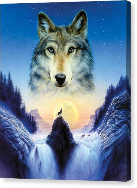 Wolf Moon Canvas Print - Cosmic Wolf by Andrew Farley