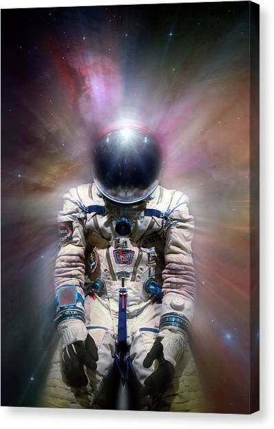 Space Suit Canvas Print - Cosmonaut In Space by Detlev Van Ravenswaay