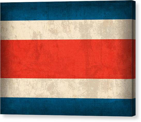 Costa Rican Canvas Print - Costa Rica Flag Vintage Distressed Finish by Design Turnpike
