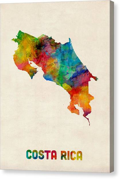 Costa Rican Canvas Print - Costa Rica Watercolor Map by Michael Tompsett