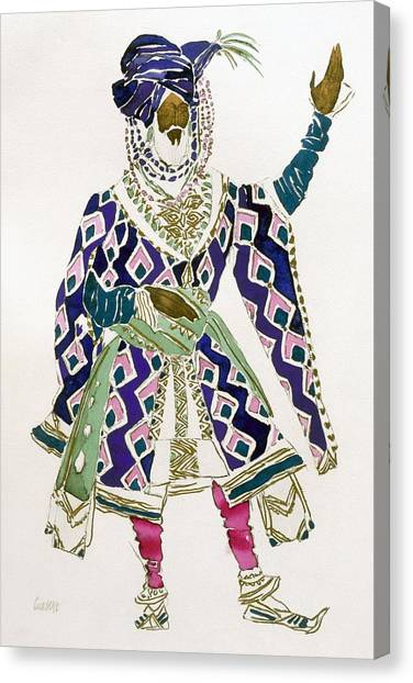 Fashion Plate Canvas Print - Costume Design For A Sultan by Leon Bakst