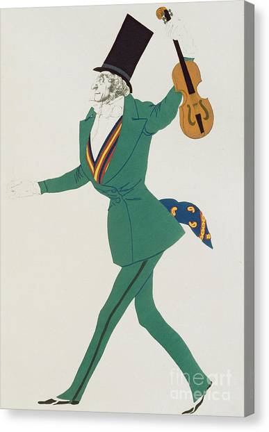 Violins Canvas Print - Costume Design For Paganini In The Enchanted Night by Leon Bakst