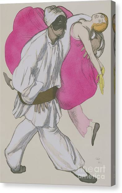 Jewish Artist Canvas Print - Costume Designs For Pamina And Monostatos In The Magic Flute by Leon Bakst
