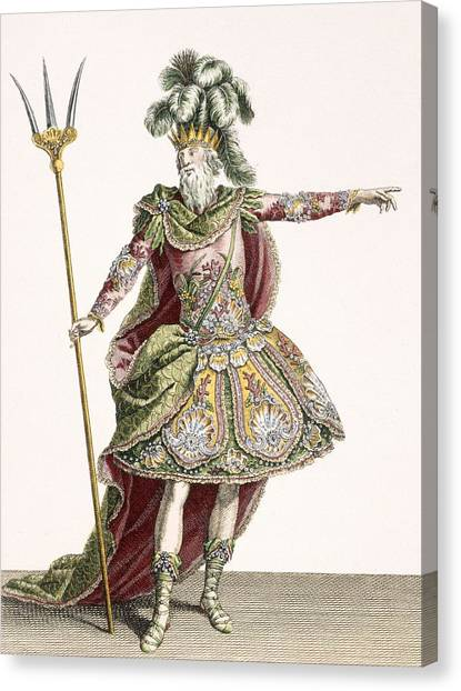 Ostriches Canvas Print - Costume For Neptune In Several Operas by Jean Baptiste Martin